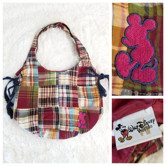 Disney Handbags - Mickey Mouse Madras Plaid Hobo Bag Disney Parks